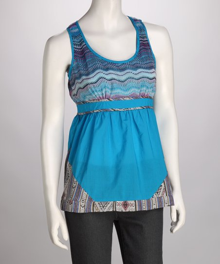 Blue Waves Keyhole-Back Tank