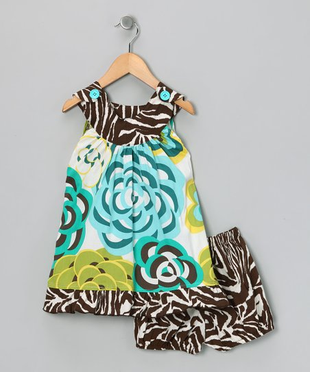 Brown Modern Flower Dress & Diaper Cover - Infant