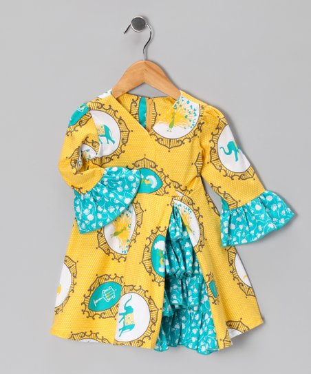 Yellow Elephant & Peacock Vintage Ruffle Dress - Toddler & Girls