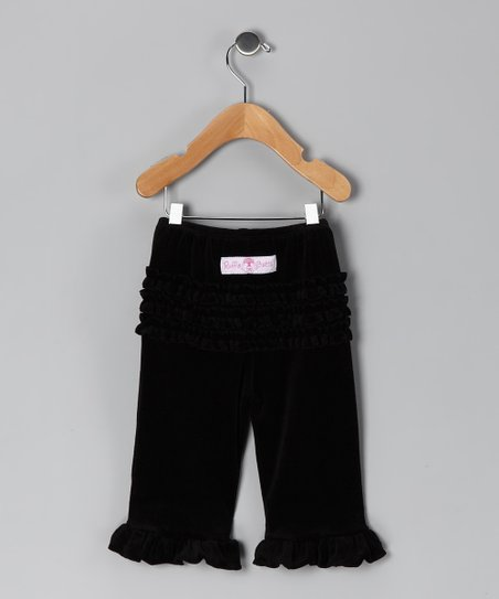 Black Velour Ruffle Pants - Infant & Toddler