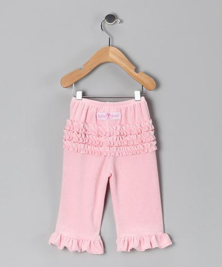 Pink Velour Ruffle Pants - Infant & Toddler