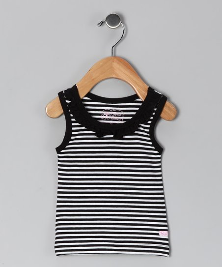 Black & White Stripe Ruffle Tank - Infant
