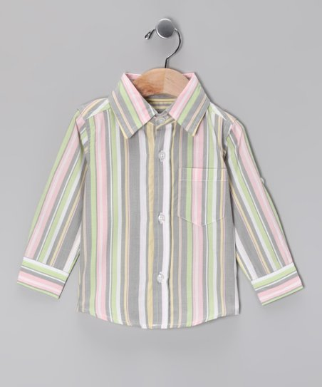 Gray Stripe Button-Up - Infant & Toddler