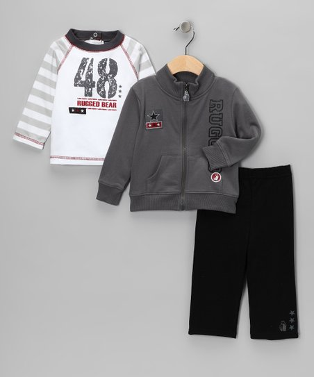 Gray & Red Jacket Set