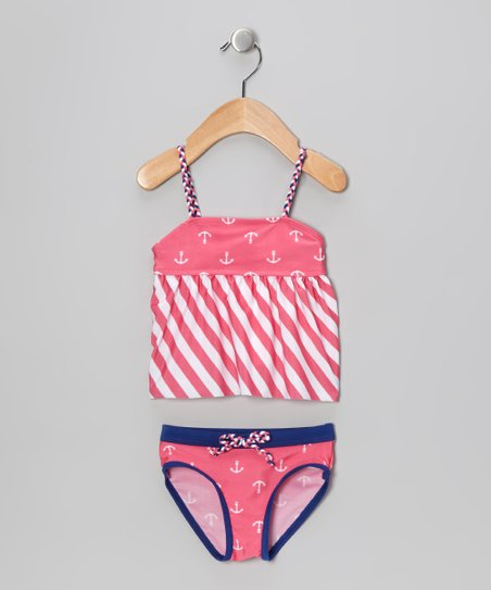 Pink & White Stripe Nautical Tankini - Infant
