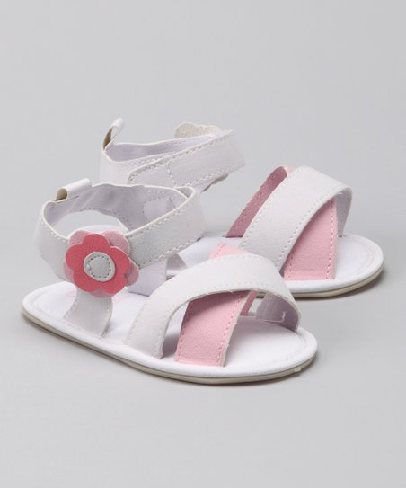 White & Pink Flower Crisscross Sandal