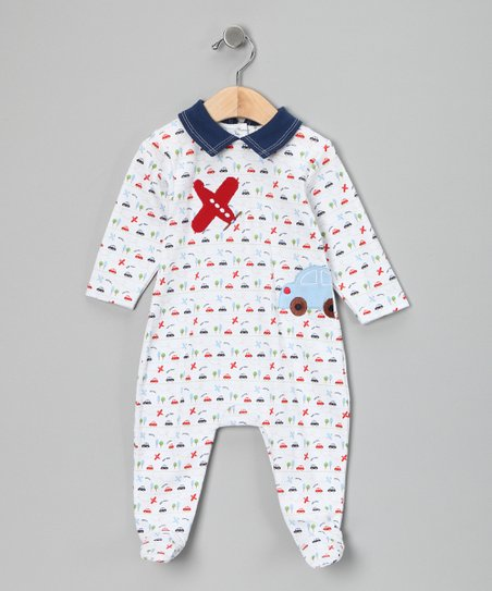 White & Blue Transportation Footie - Infant