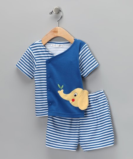 Blue Elephant Wrap Top & Shorts - Infant