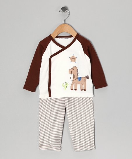 Brown Horse Wrap Top & Pants