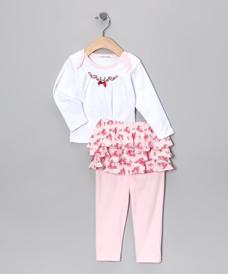White & Pink Floral Top & Skirted Leggings - Infant