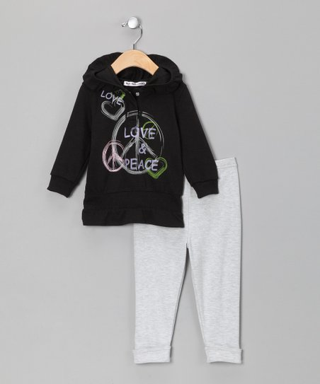 Black & Gray 'Love' Hoodie & Pants - Infant