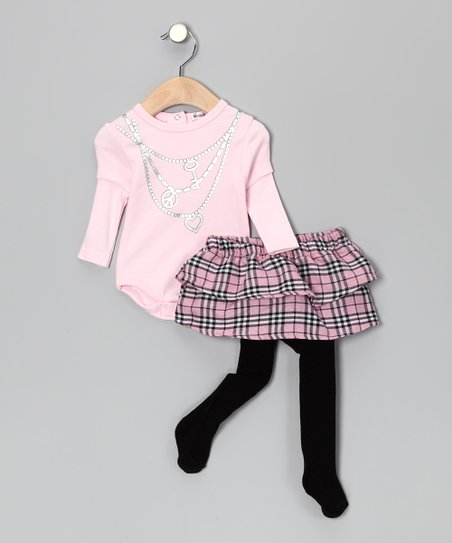 Pink Plaid Bodysuit & Skirted Tights
