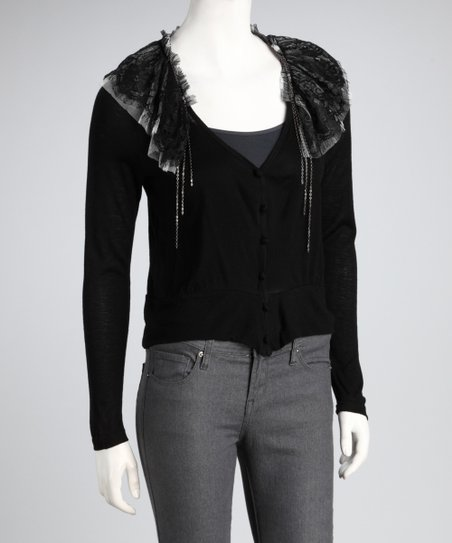 Black Lace Chain Cardigan