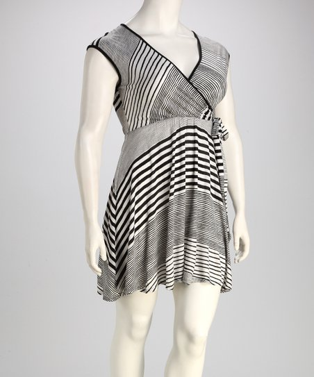 Black & White Stripe Plus-Size Wrap Dress