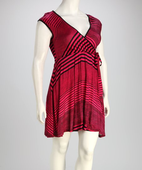 Magenta Stripe Plus-Size Wrap Dress