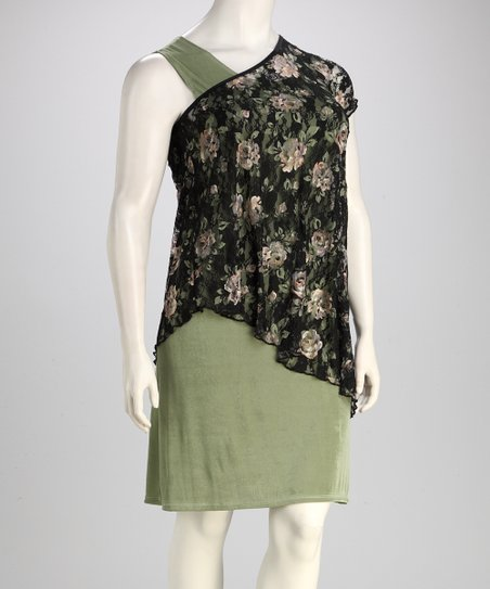 Sage Floral Plus-Size Dress