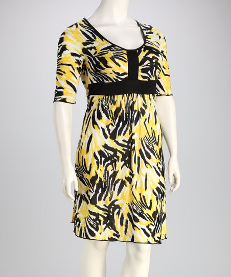 Black & Yellow Zebra Plus-Size Dress