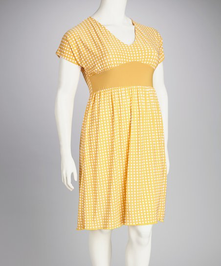 Mustard Polka Dot Plus-Size Dress