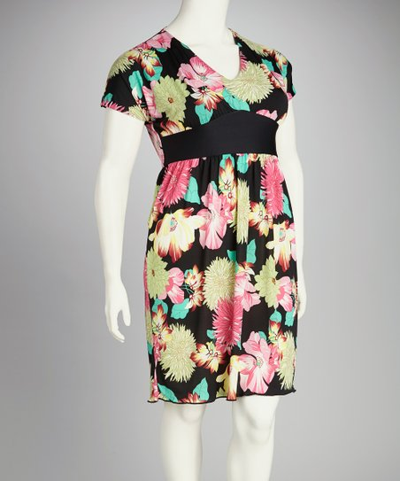 Black &amp; Pink Floral Plus-Size Dress
