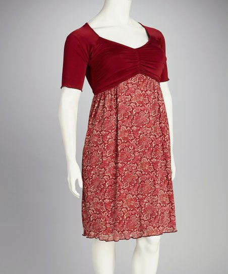 Burgundy Floral Plus-Size Dress