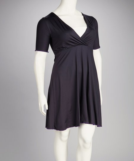 Black Surplice Dress - Plus