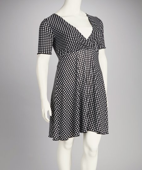 Black &amp; White Gingham Plus-Size Surplice Dress