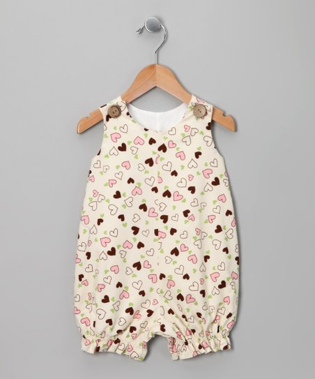 Ivory &amp; Brown Heart Bubble Romper - Infant