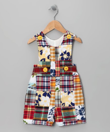 Yellow & Red Plaid Patchwork Shortalls - Infant