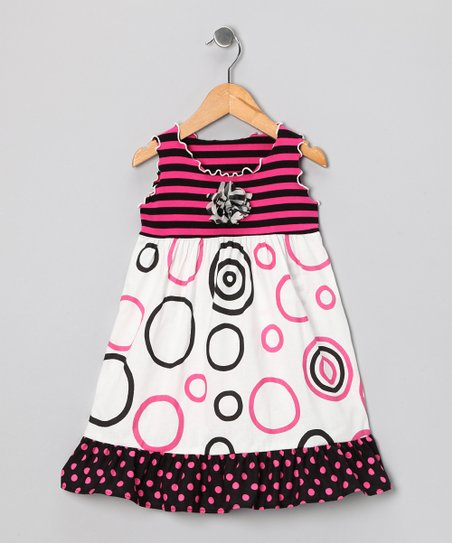 Pink & Black Circle Ruffle Dress - Toddler & Girls