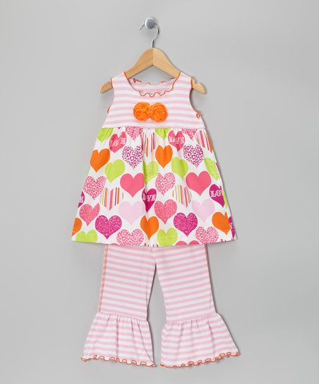 Pink Heart Tunic & Capri Pants - Toddler & Girls