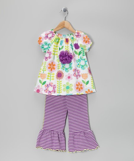 Purple Floral Peasant Top & Capri Pants - Toddler & Girls
