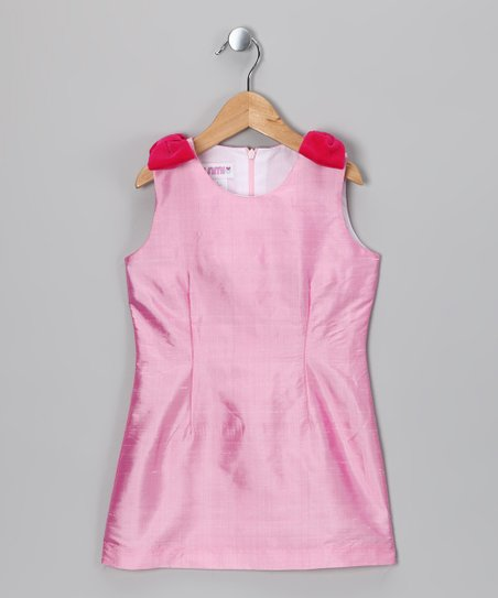 Pink Bow Silk Shift Dress - Girls