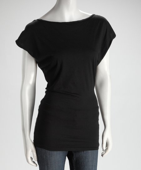 SUST Black Disco Organic Boatneck Top