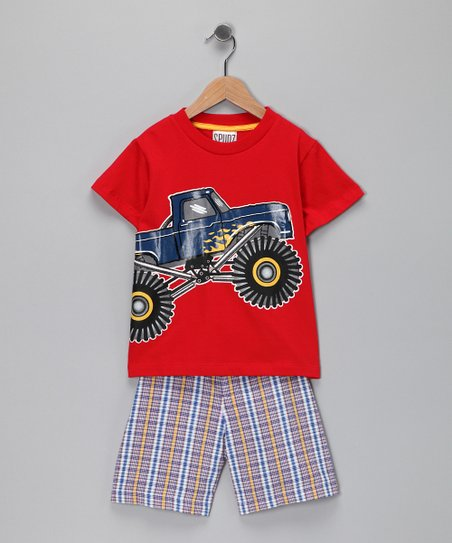 Red Monster Truck Tee &amp;  Plaid Shorts - Infant