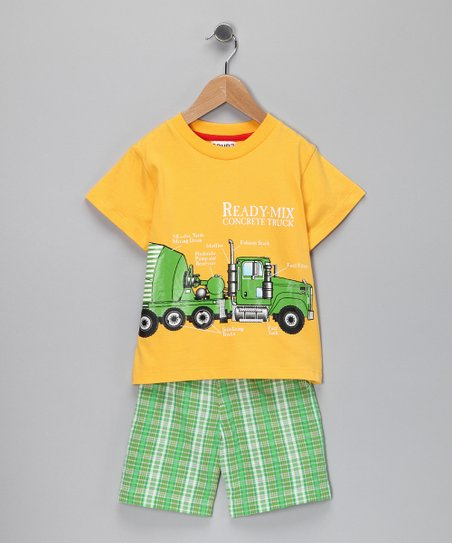 Yellow Cement Mixer Tee & Plaid Shorts - Infant & Toddler