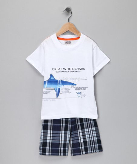 Navy Great White Shark Tee & Plaid Shorts - Infant & Toddler