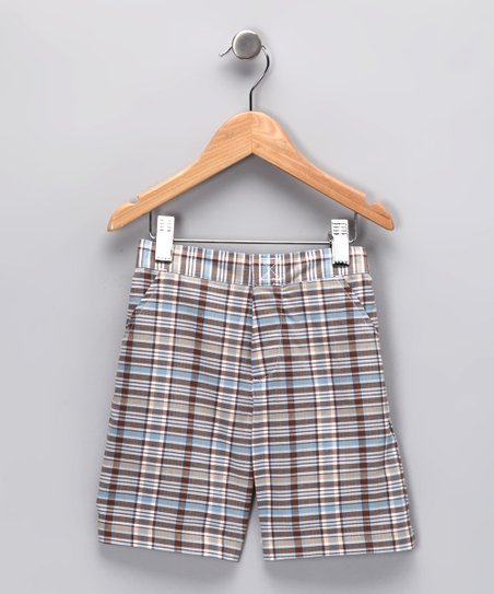 Blue & Brown Plaid Shorts - Infant