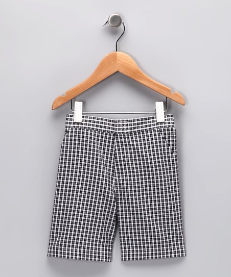 Black Plaid Shorts - Infant