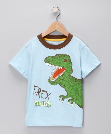 Light Blue 'T-Rex Attack' Tee - Infant & Toddler