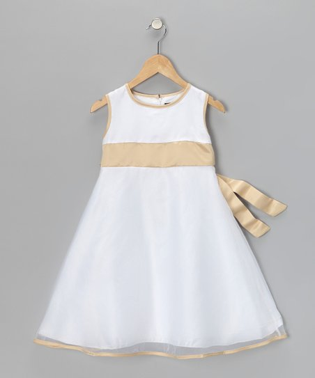 White & Beige A-Line Dress - Girls