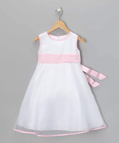 Pink &amp; White Sleeveless Dress - Girls