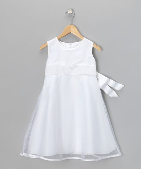 White Sleeveless Dress - Girls
