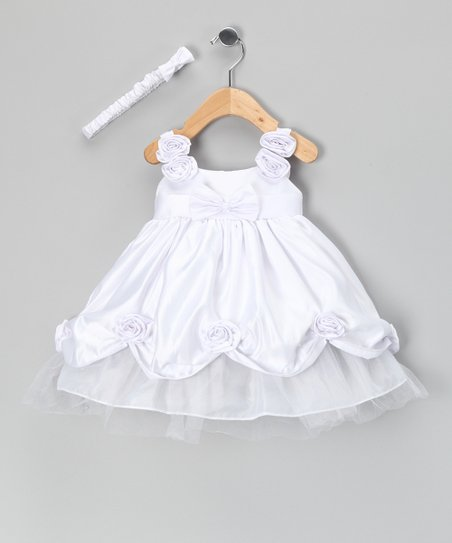 White Ballroom Babydoll Dress &amp; Headband - Infant