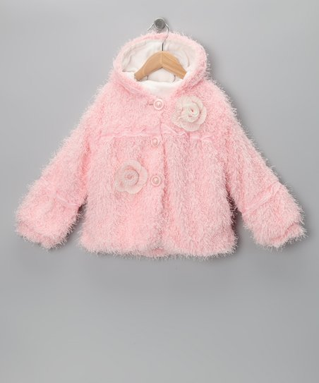 Pink Faux Fur Rosette Jacket  - Toddler & Girls