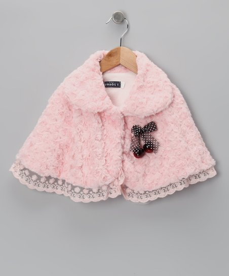 Pink Cherry Minky Swirl Cape - Toddler & Girls