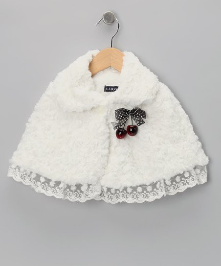 White Cherry Minky Swirl Cape - Toddler & Girls