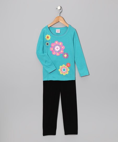 Blue Daisy Tee & Black Leggings - Toddler