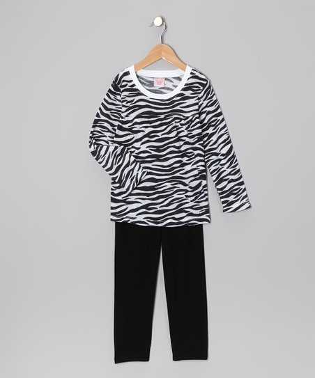 Black Zebra Tunic & Leggings - Girls