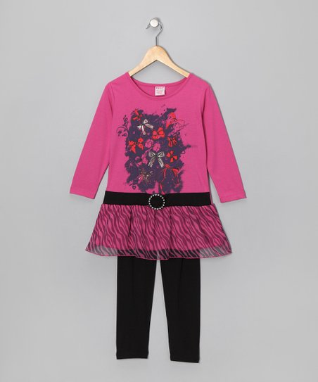 S.W.A.K. Pink Bow Belted Tunic & Leggings - Girls