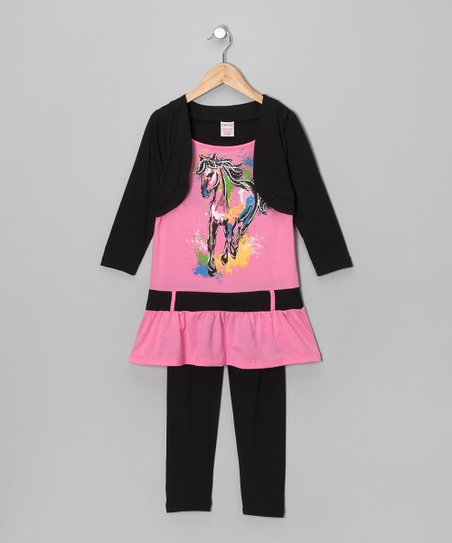 Pink Horse Layered Tunic & Black Leggings - Girls